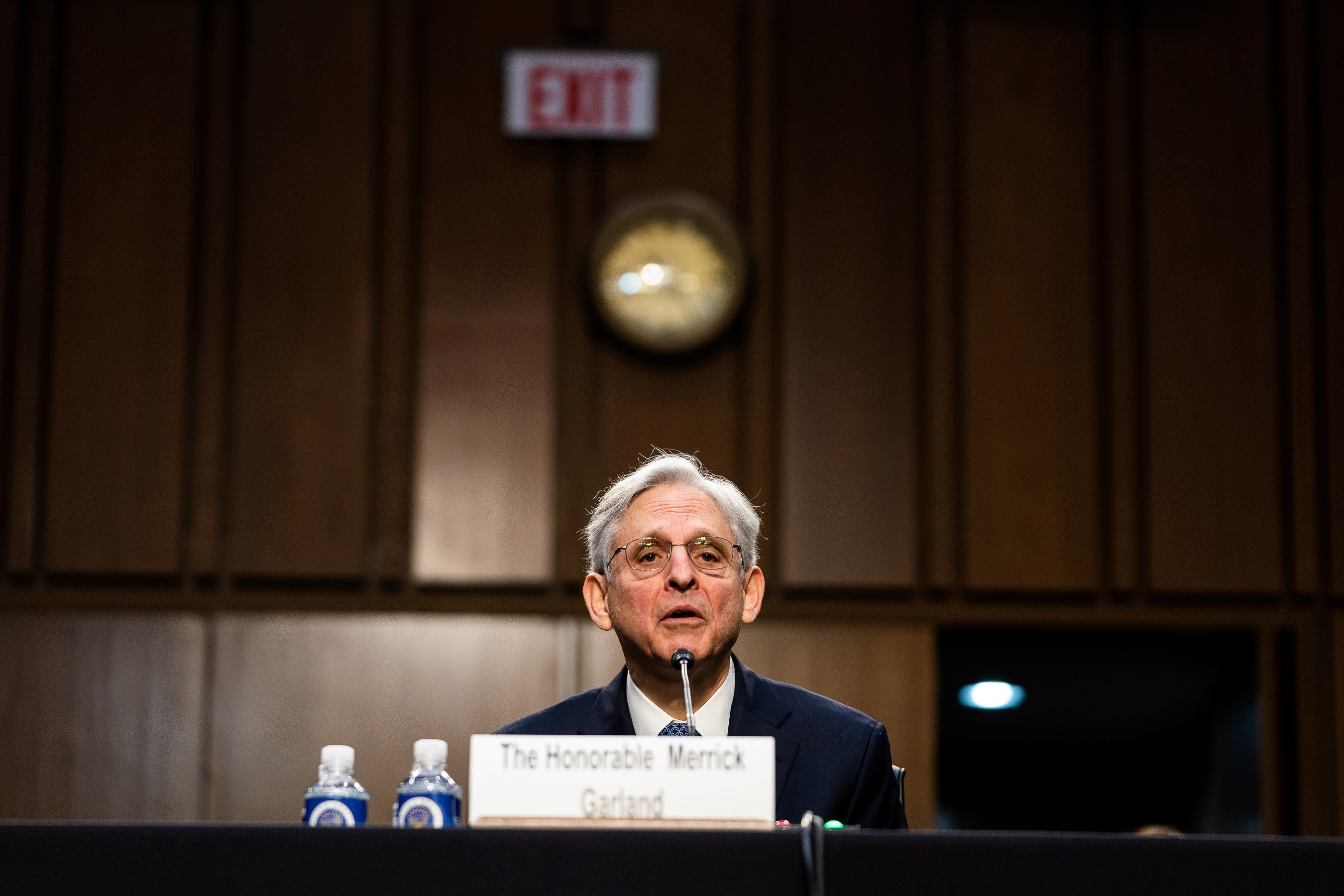 Nominee for U.S. Attorney General, Merrick Garland, during his swearing in confirmation hearing before the Senate Judiciary Committee, Washington, DC U.S., February 22, 2021.  Demetrius Freeman/Pool via REUTERS