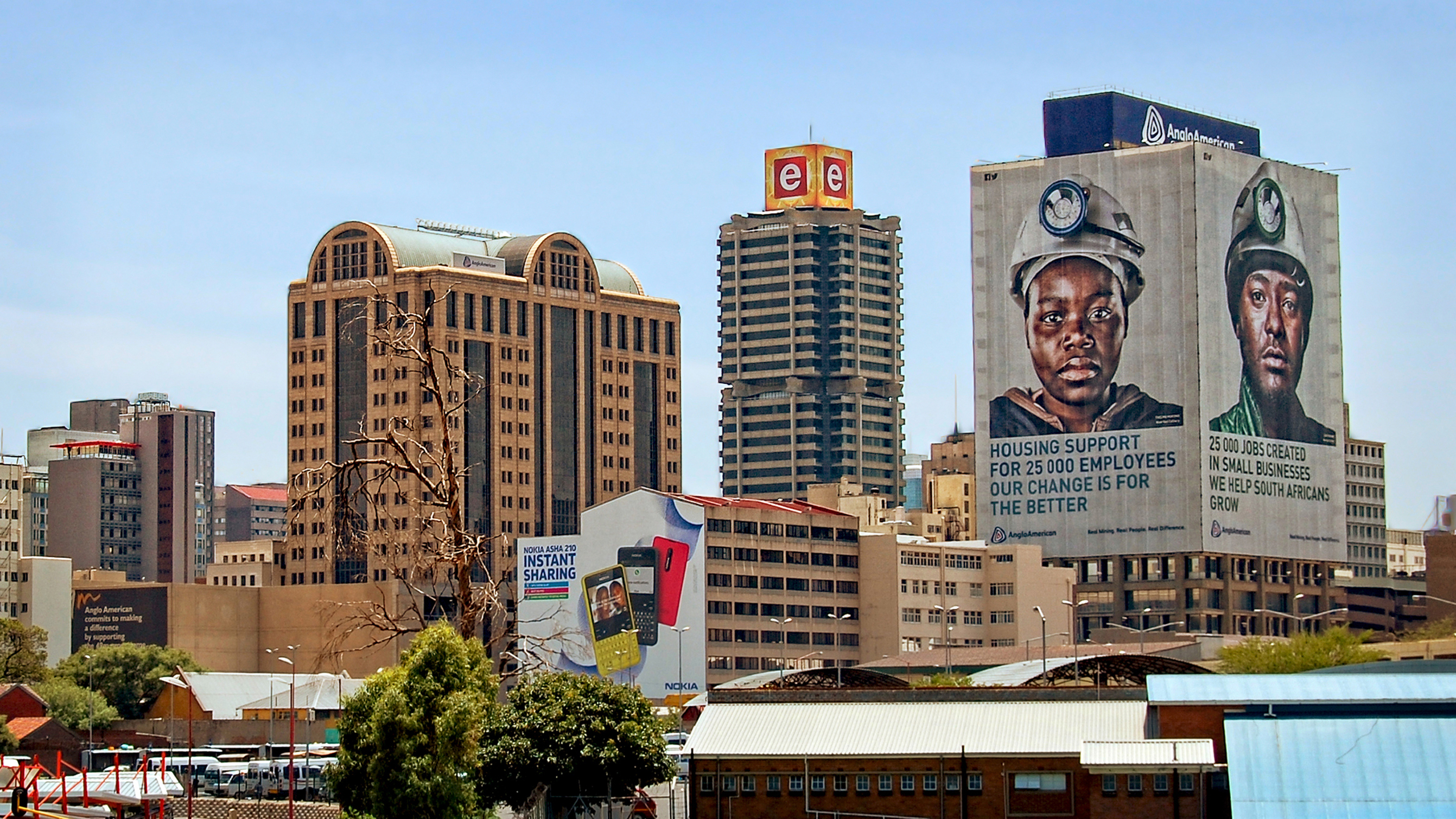 Johannesburg, South Africa - December 21, 2013: Johannesburg began as a gold-mining settlement. Today it is one of the world's leading financial centers, the economic & financial hub of South Africa