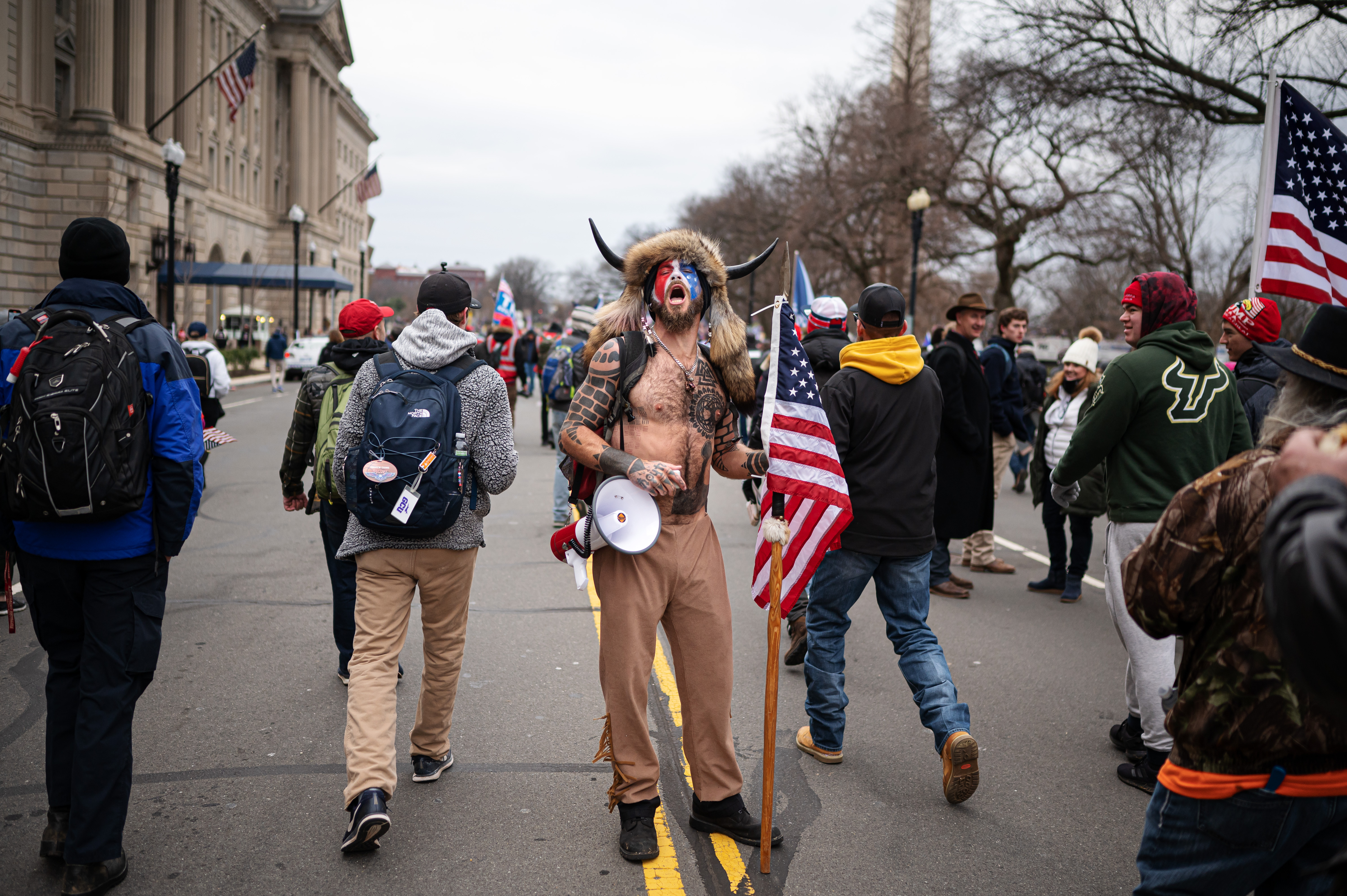 "210106 Jake Angeli, a QAnon conspiracy ""influencer"" known as the ""Q Shaman"", is seen among pro-Trump supporters during a March to Save America Rally on January 6, 2021 in Washington, DC, USA. Photo: Joel Marklund / BILDBYRÅN / kod JM / JM0057 bbeng politik politics No Use Sweden. No Use Norway. No Use Austria."