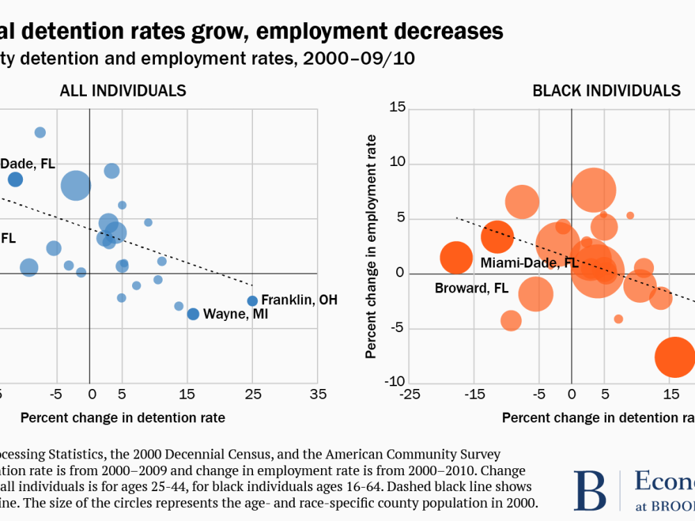 Graph depicting pretrial detention rates and employment