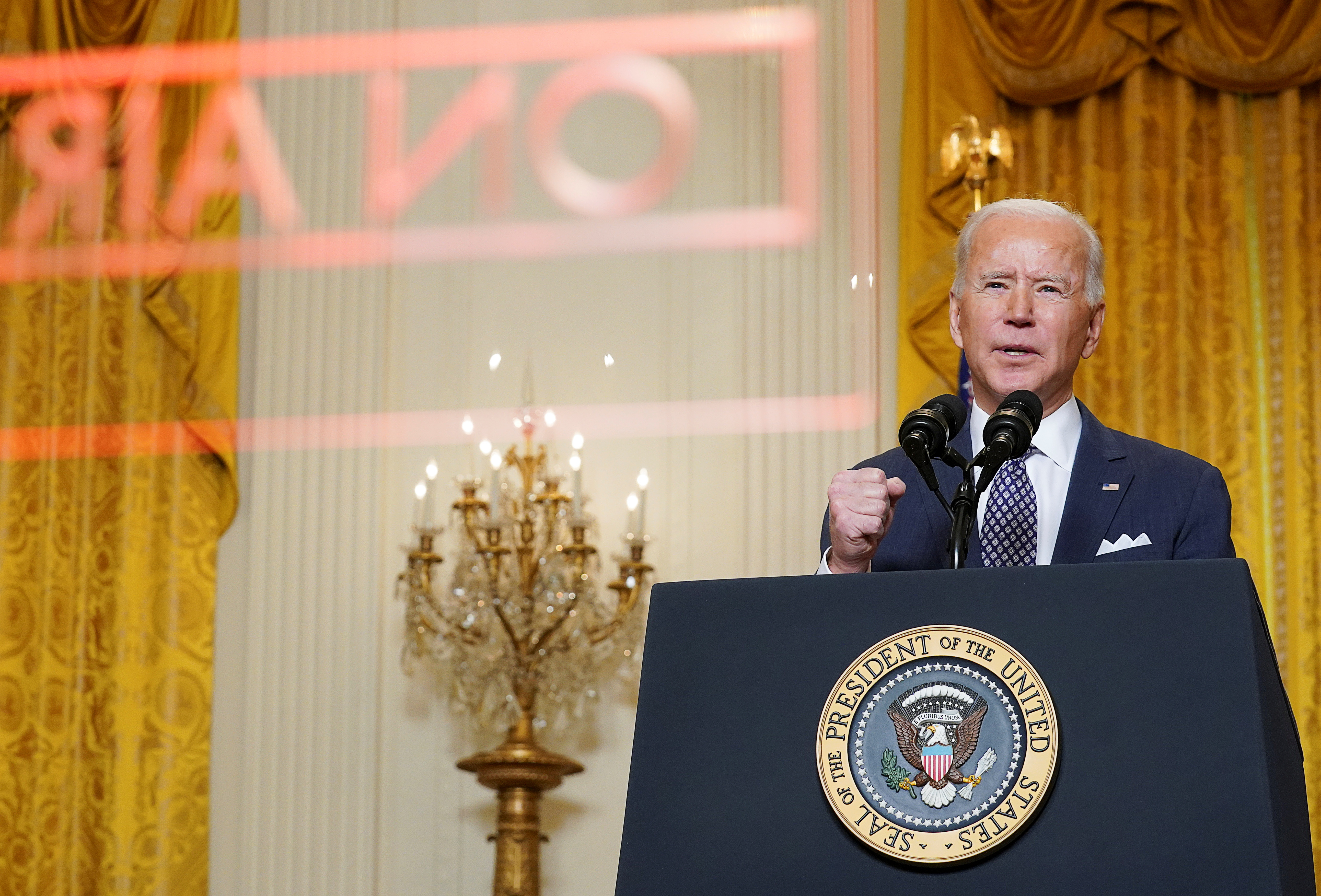 U.S. President Joe Biden delivers remarks as he takes part in a Munich Security Conference virtual event from the East Room at the White House in Washington, U.S., February 19, 2021. REUTERS/Kevin Lamarque