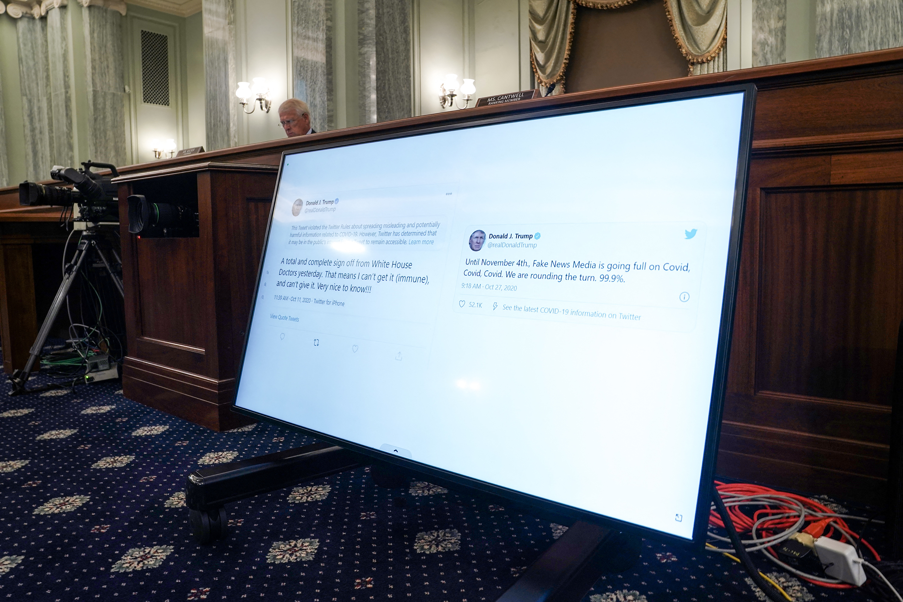 Tweets from President Donald Trump are seen as Sen. Tammy Baldwin (D-Wis.) asks questions during a Senate Commerce, Science, and Transportation Committee hearing to discuss reforming Section 230 of the Communications Decency Act with big tech companies on Wednesday, October 28, 2020. Photo by Greg Nash/Pool/ABACAPRESS.COM