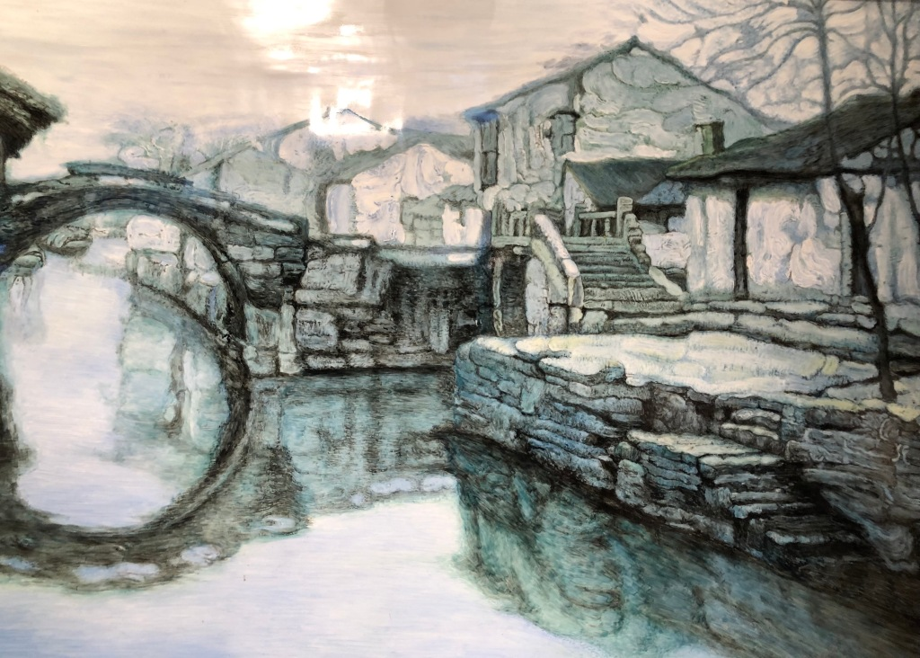 """""""Memories of Hometown: Two Bridges"""" by Chen Yifei (1946-2005). Chen Yifei, a well-known Shanghainese contemporary artist, studied Western art at Hunter College in 1980. Armand Hammer, an oil tycoon and art connoisseur, sponsored Chen's solo exhibitions in Manhattan in the early 1980s. Hammer purchased this painting and presented it to Deng Xiaoping as a gift during Hammer's highly publicized visit to China in 1985, making Chen a household name in China. Chen returned to Shanghai to work in 1990 and actively engaged in international cultural exchanges. (Photo taken in Chen Yifei Art Gallery (Yifei Vision).)"""