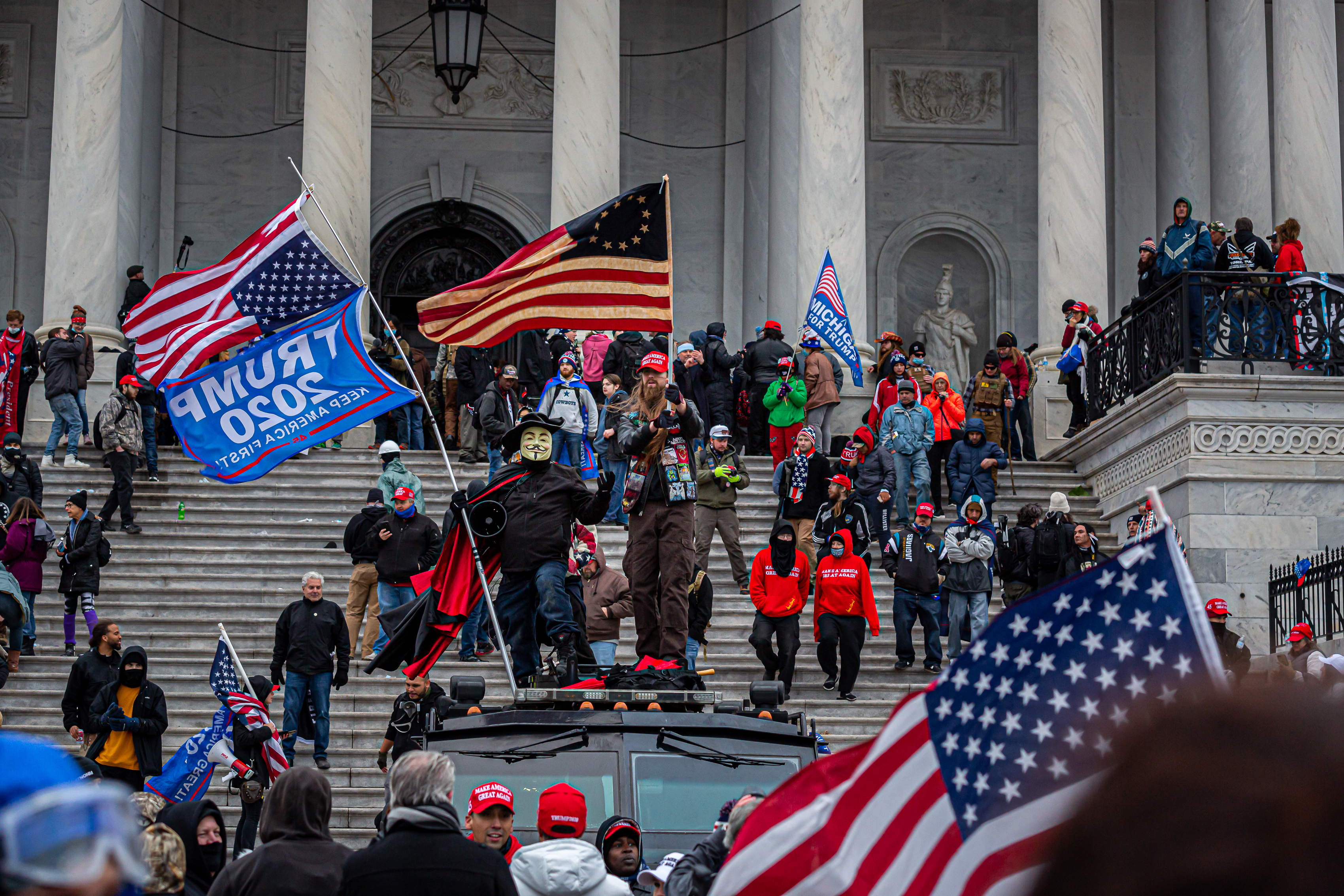 On January 6, 2021, Pro-Trump supporters and far-right forces flooded Washington DC to protest Trump's election loss. Hundreds breached the U.S. Capitol Building, aproximately 13 were arrested and one protester was killed. (Photo by Michael Nigro/Sipa USA)No Use UK. No Use Germany.