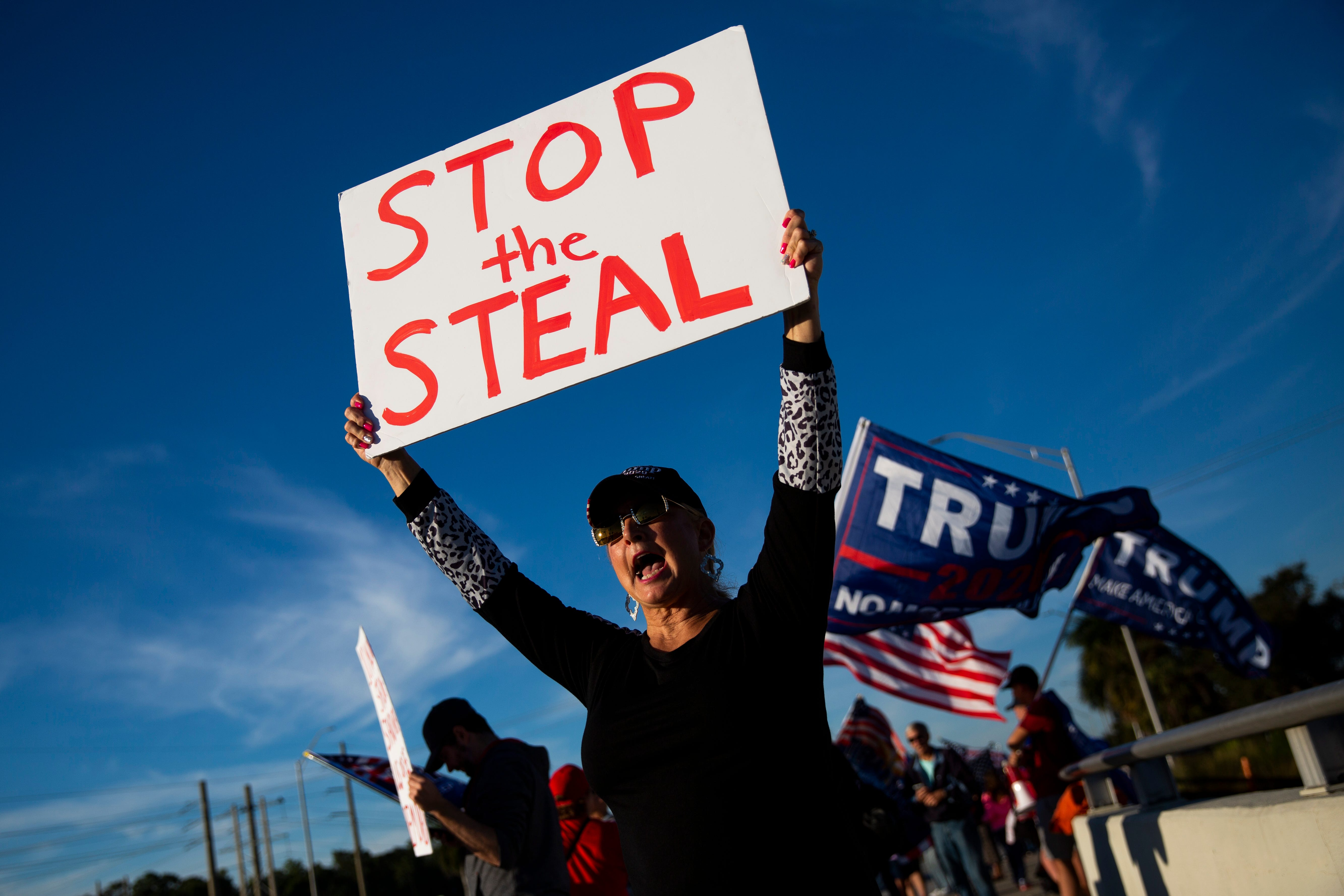 """Diane """"Feisty"""" Feist holds up a sign that says """"stop the steal"""" during a pro-Trump protest outside Oakes Farms Seed to Table in North Naples on Wednesday, January 6, 2021.Ndn Best Of January 001"""