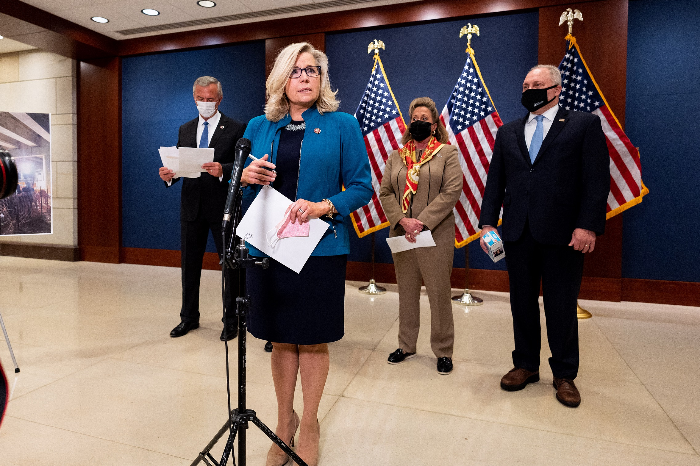 April 14, 2021 - Washington, DC, United States: U.S. Representative Liz Cheney (R-WY) speaking at the post GOP House conference meeting press conference. (Photo by Michael Brochstein/Sipa USA)No Use Germany.