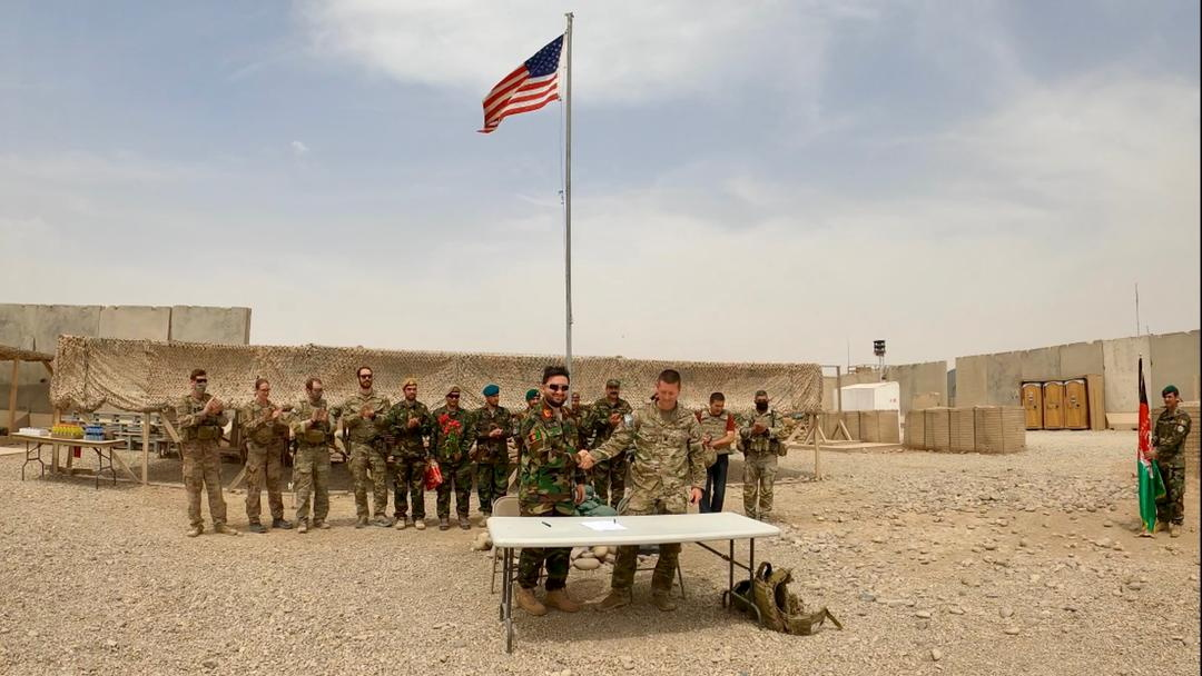 Handover ceremony at Camp Anthonic, from U.S. Army to Afghan Defense Forces in Helmand province, Afghanistan May 2, 2021. Picture taken May 2, 2021. Ministry of Defense Press Office/Handout via REUTERS THIS IMAGE HAS BEEN SUPPLIED BY A THIRD PARTY. NO RESALES. NO ARCHIVES
