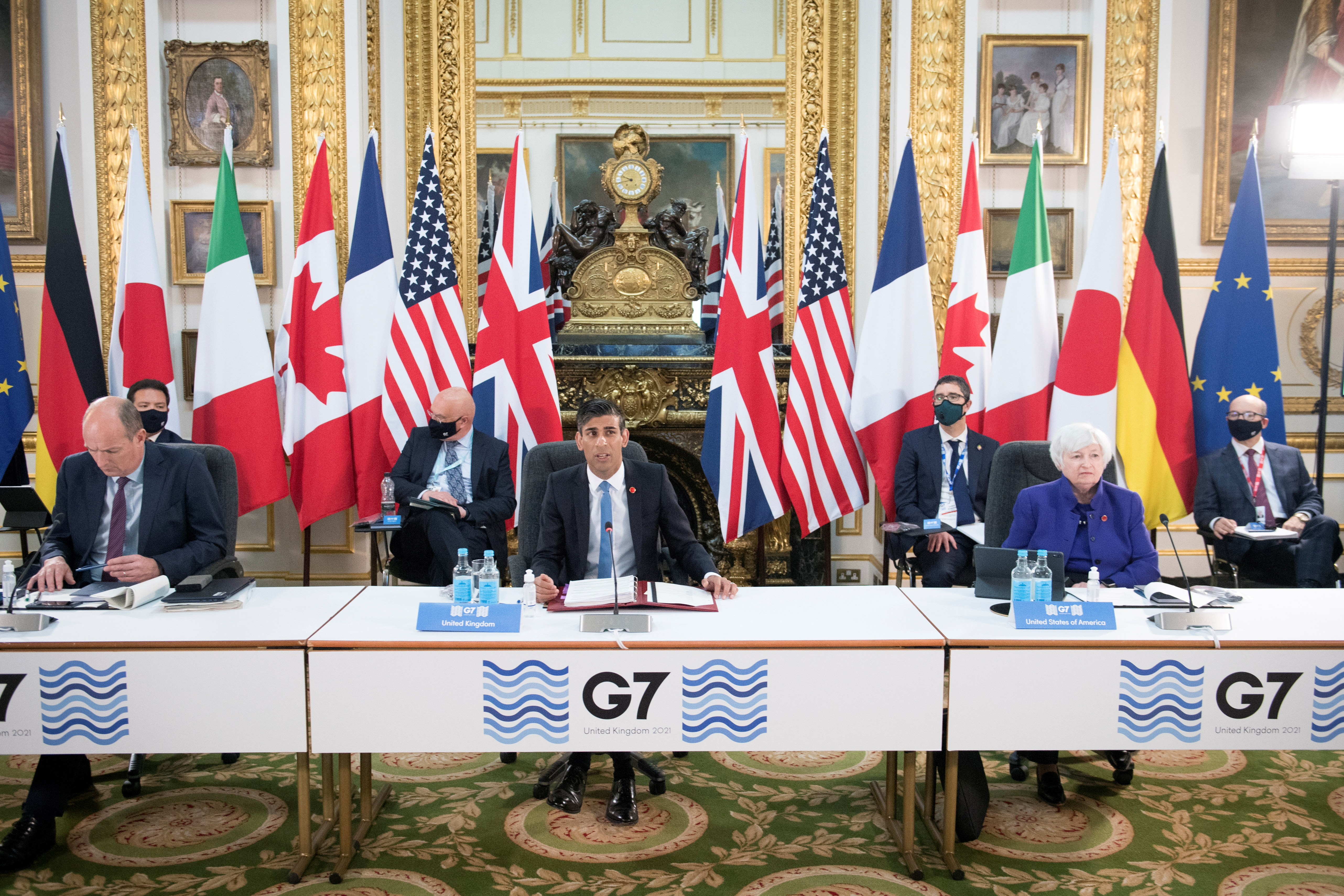 Britain's Chancellor of the Exchequer Rishi Sunak speaks at a meeting of finance ministers from across the G7 nations ahead of the G7 leaders' summit, at Lancaster House in London, Britain June 4, 2021. Stefan Rousseau/PA Wire/Pool via REUTERS