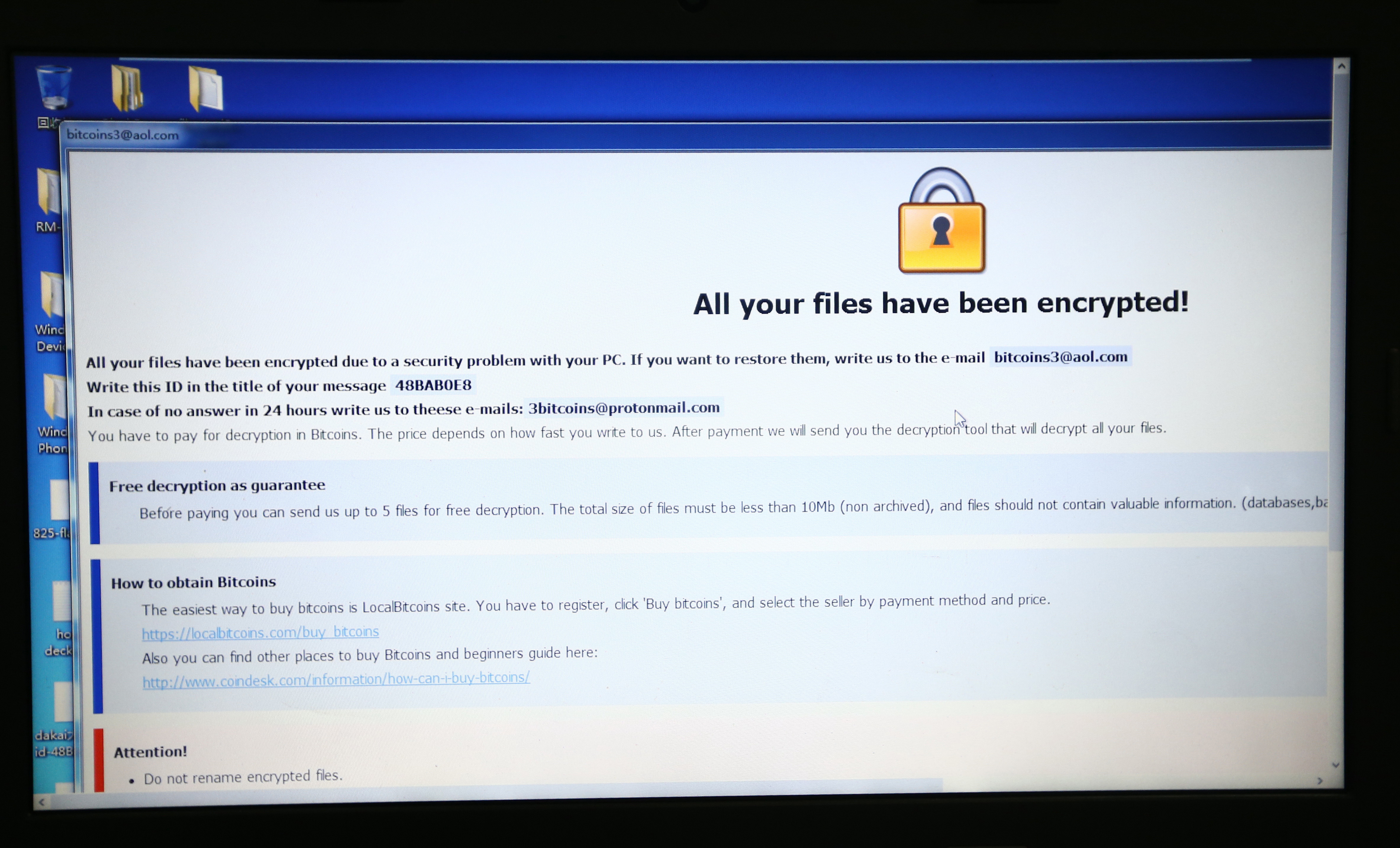 View of the software to recover files encrypted by the virus ''WannaCry'' at the Recovery Key Laboratory of Sichuan Province in Chengdu city, southwest China's Sichuan province, 15 May 2017.  A technology company in Sichuan province released a software to recover files encrypted by the virus ''WannaCry'' in Chengdu city, southwest China's Sichuan province, 15 May 2017. Over the past few weeks, numerous computer users have been reporting ransomware attacks where files are encrypted and appended with the .wallet extension.No Use China. No Use France.
