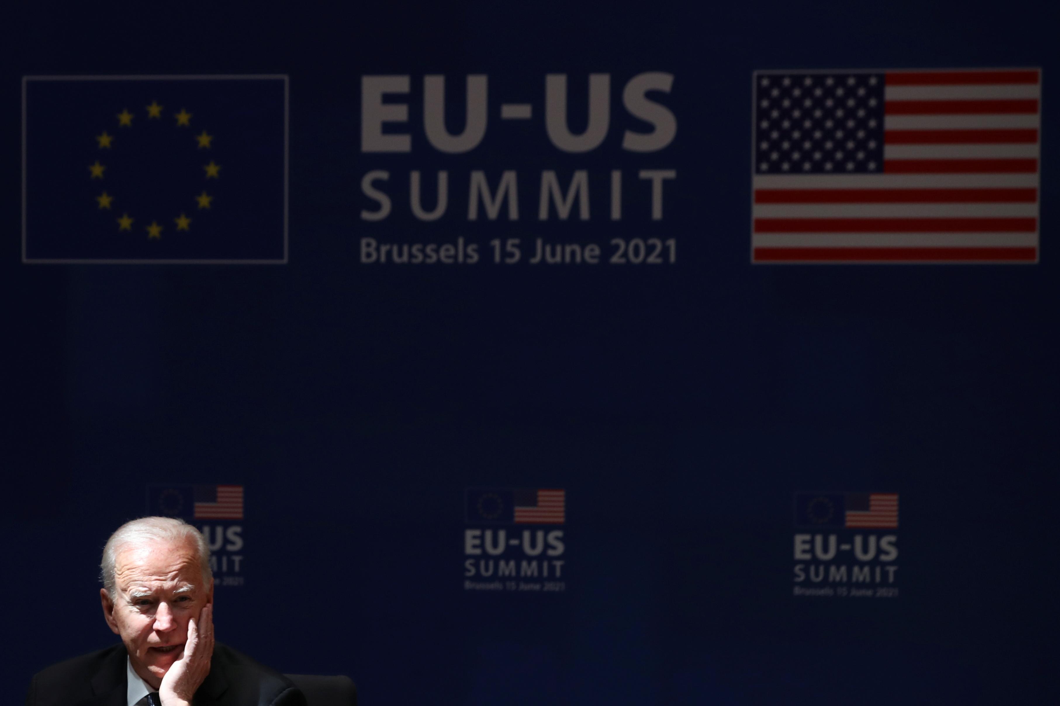 U.S. President Joe Biden attends the EU-US summit, in Brussels, Belgium June 15, 2021. REUTERS/Yves Herman