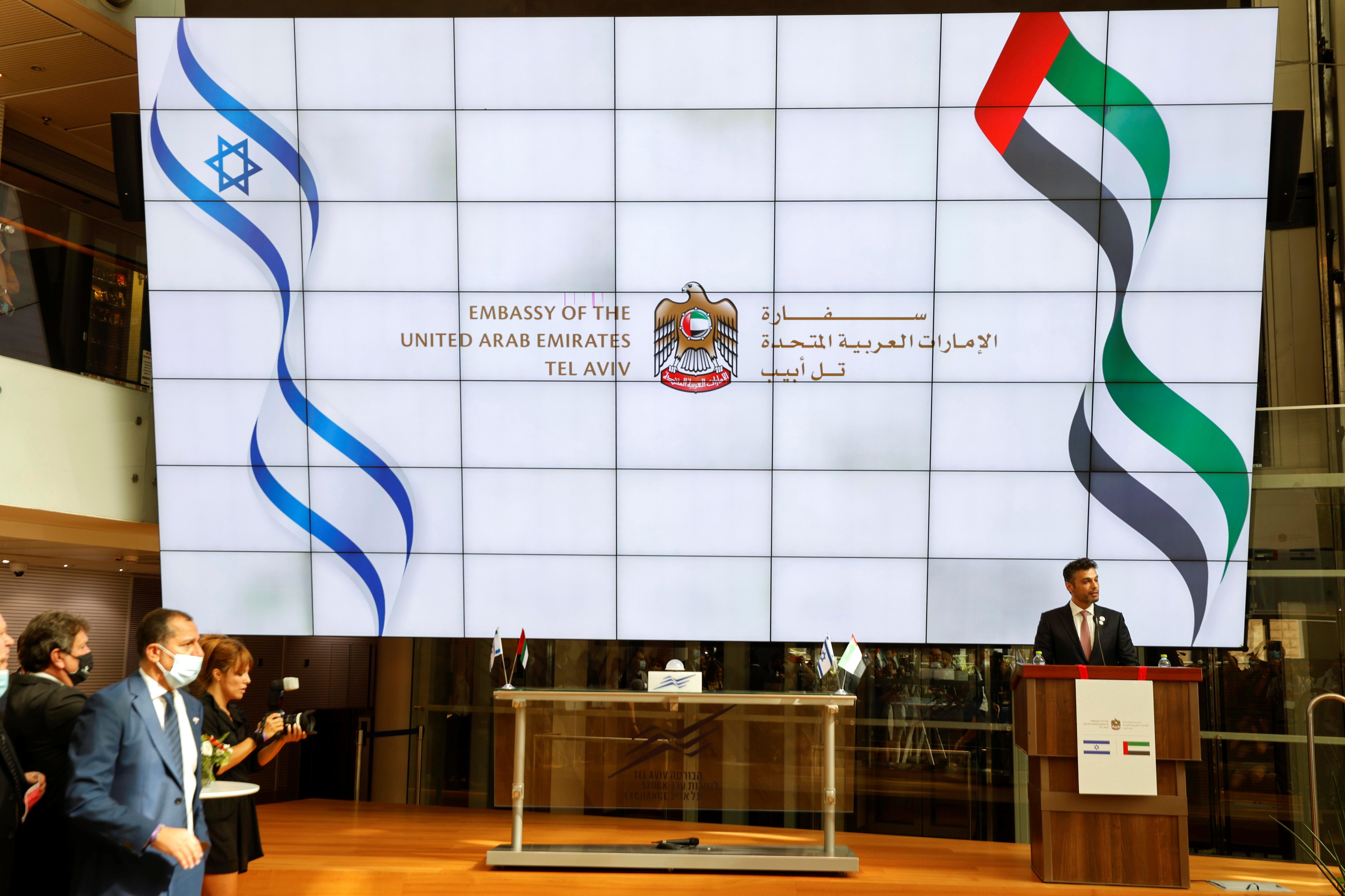 UAE Ambassador to Israel, Mohamed Al Khaja, speaks during the opening ceremony of the Emirati embassy in Tel Aviv, Israel July 14, 2021. REUTERS/Amir Cohen