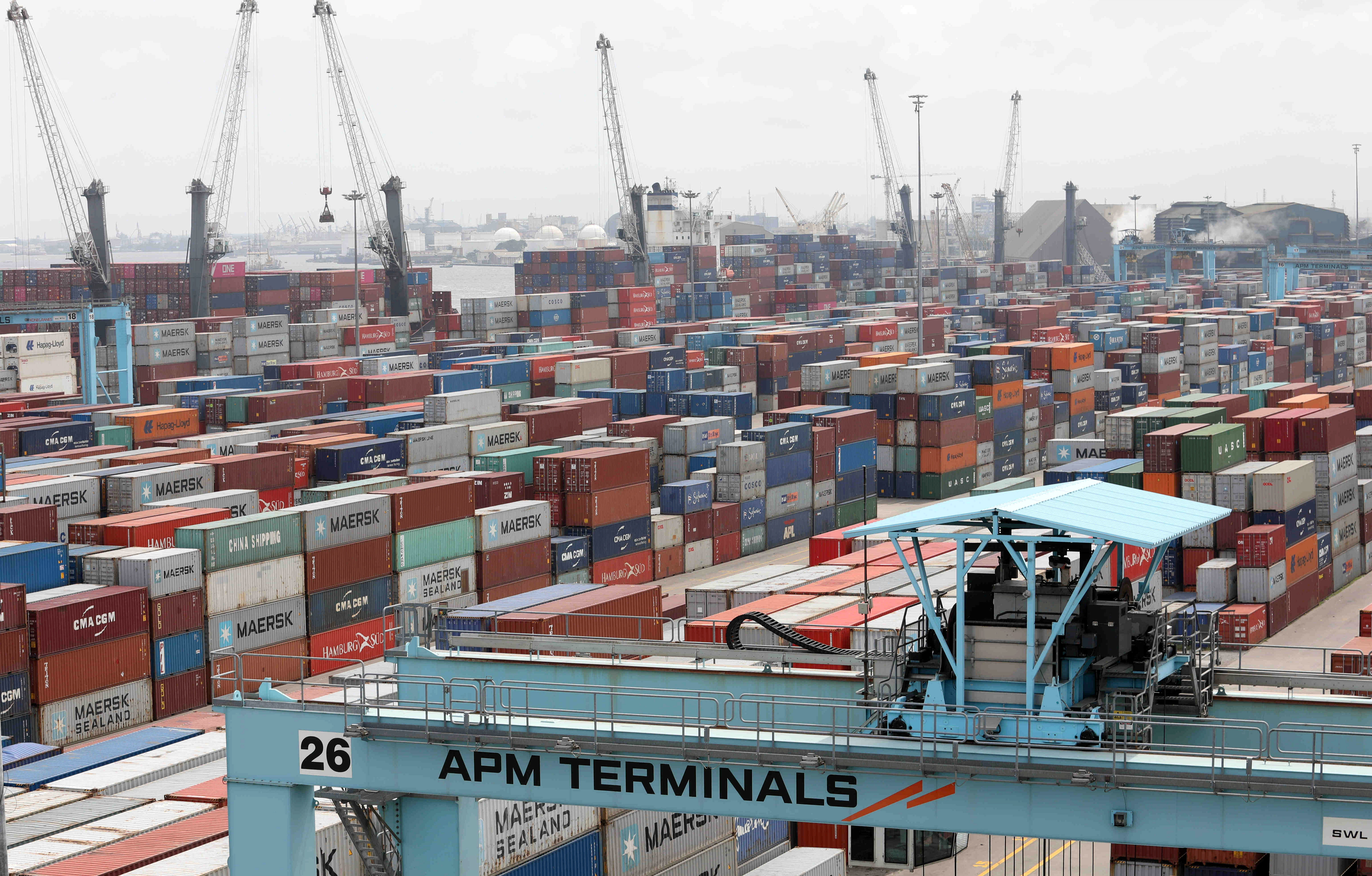 FILE PHOTO: Cranes and containers seen at APM Terminals at the gateway port in Apapa, Lagos, Nigeria July 30, 2019. Picture taken July 30, 2019. REUTERS/Temilade Adelaja/File Photo