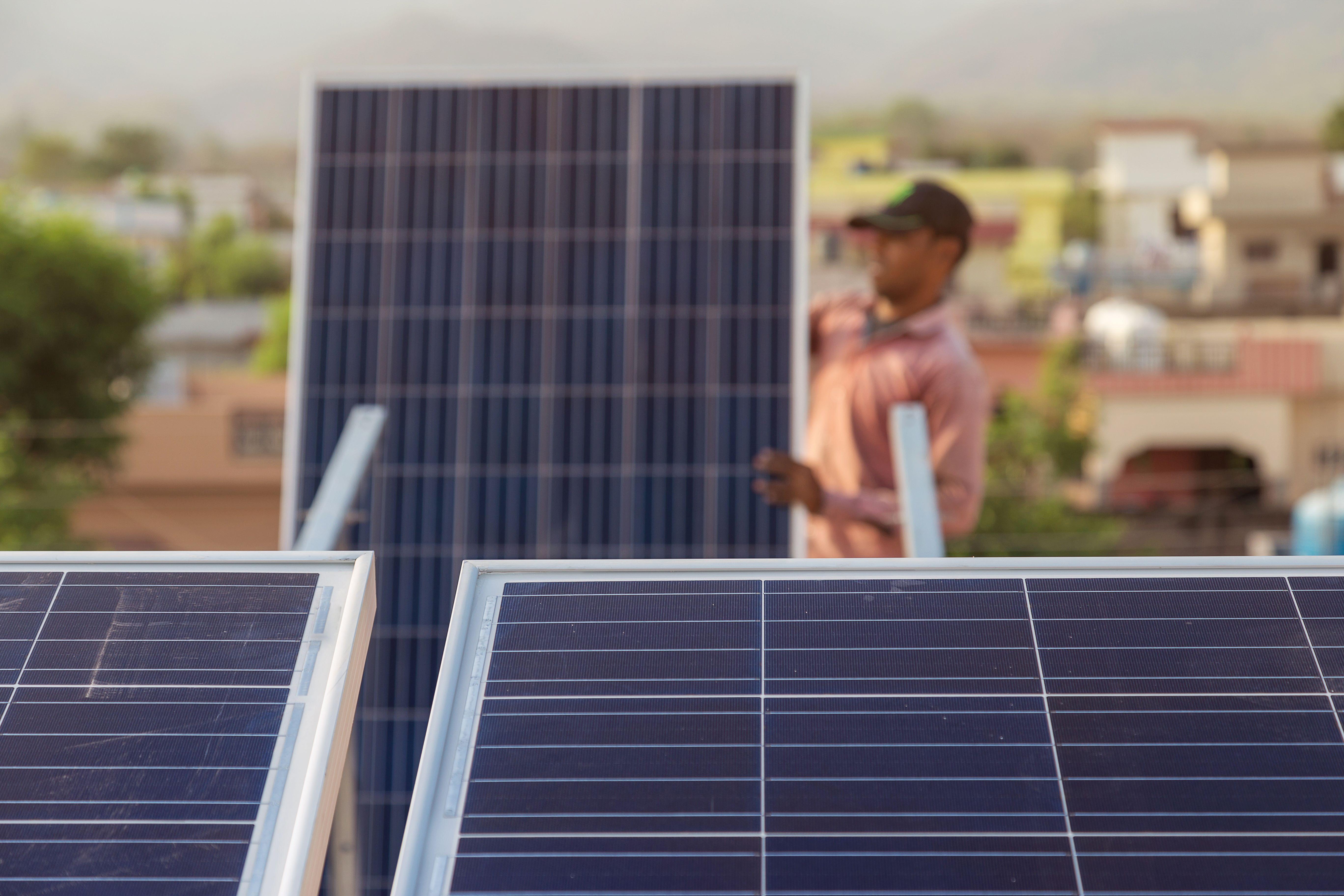 Solar panel installation in Indian village