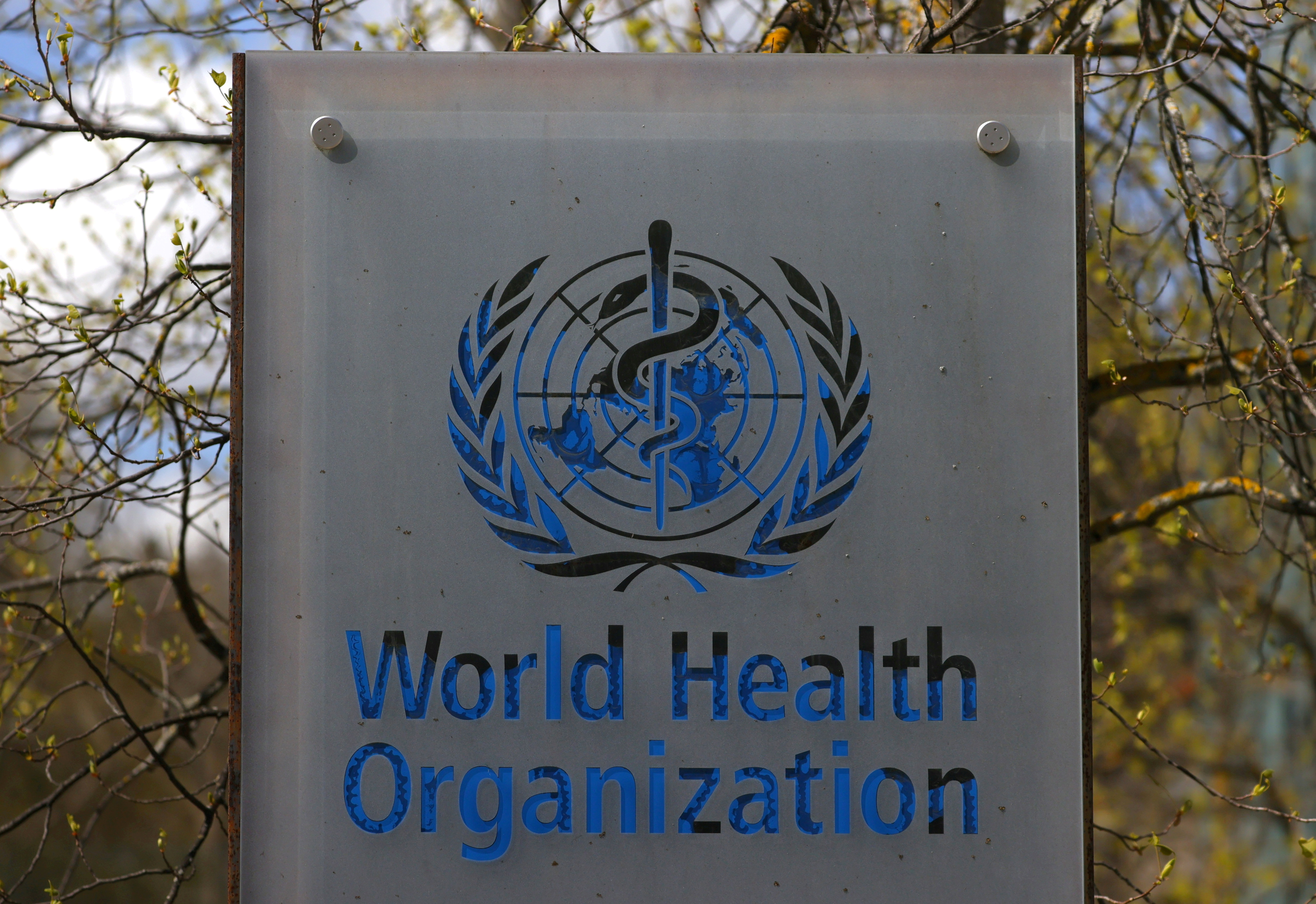 FILE PHOTO: A logo is pictured outside a building of the World Health Organization (WHO) during an executive board meeting on update on the coronavirus disease (COVID-19) outbreak, in Geneva, Switzerland, April 6, 2021. REUTERS/Denis Balibouse/File Photo