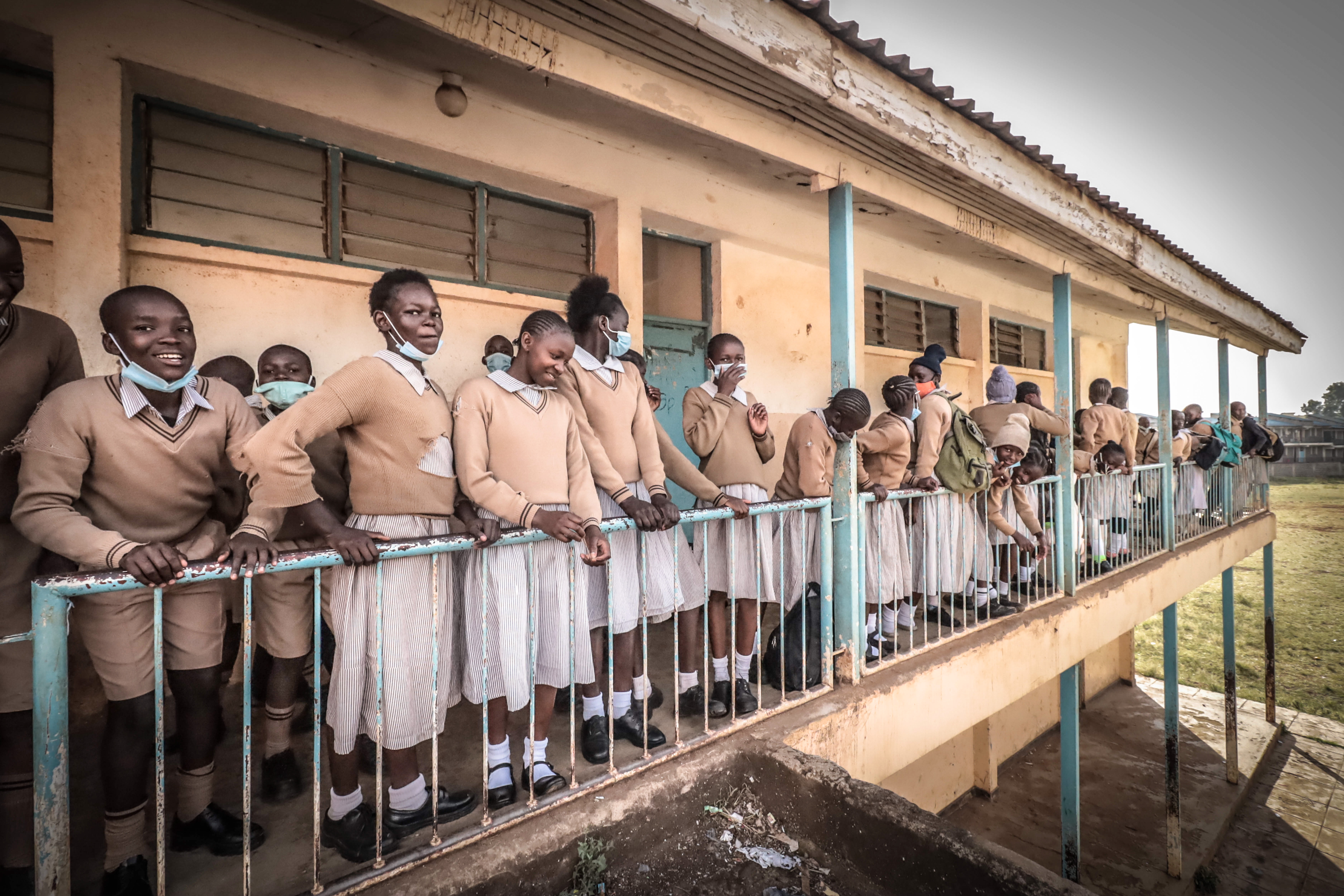 Pupils wait outside their classes at Ayany Primary School during the arrangement of their seating positions  to create social distance after a nine months period of no school due to the coronavirus pandemic. (Photo by Donwilson Odhiambo / SOPA Images/Sipa USA)No Use UK. No Use Germany.