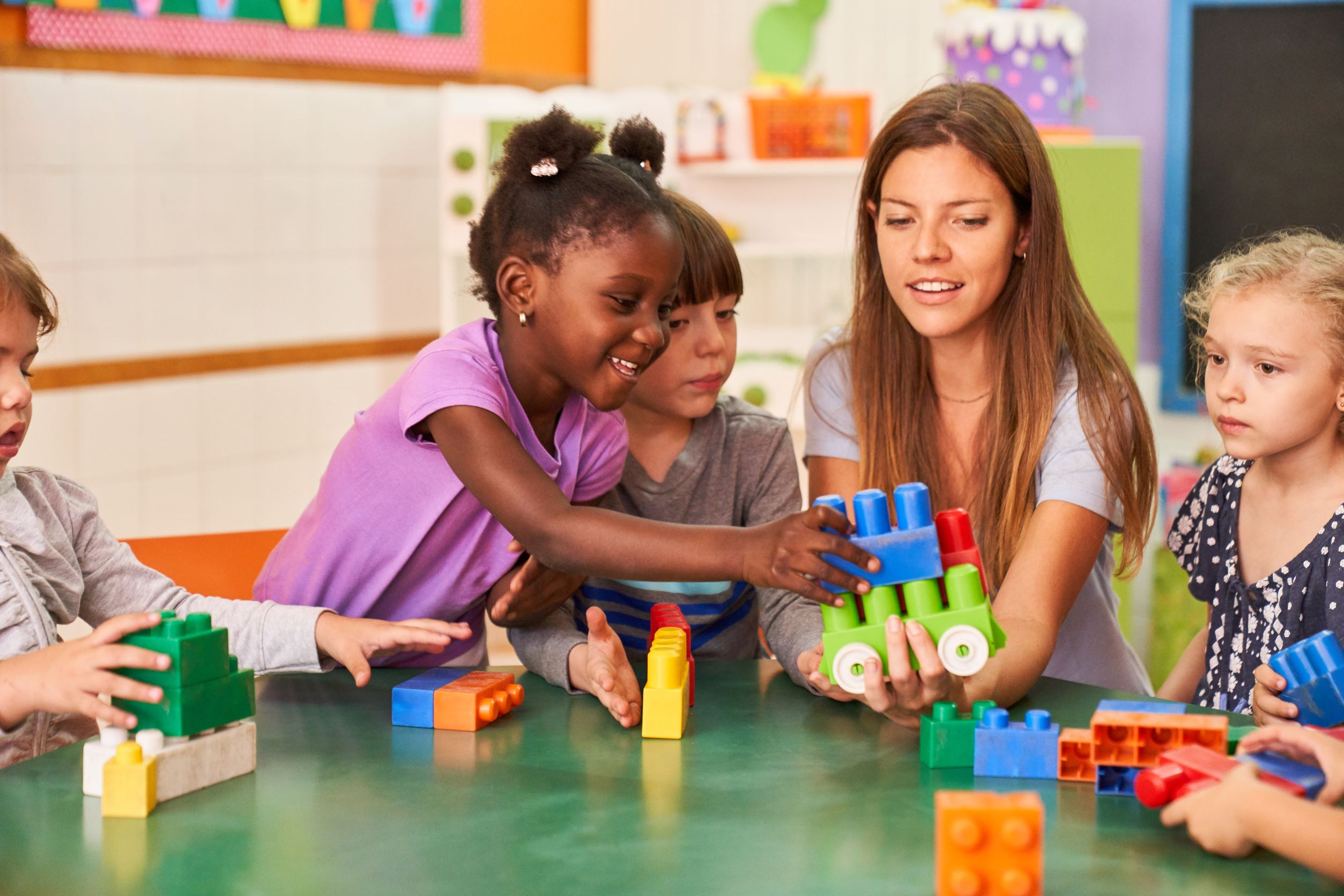 Children play in a daycare