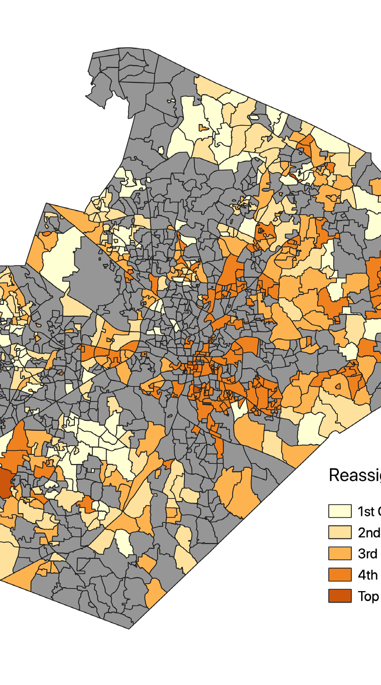 F1 Percent of students in WCPSS residential nodes identified for reassignment between 200 and 2010 who are Black or Hispanic