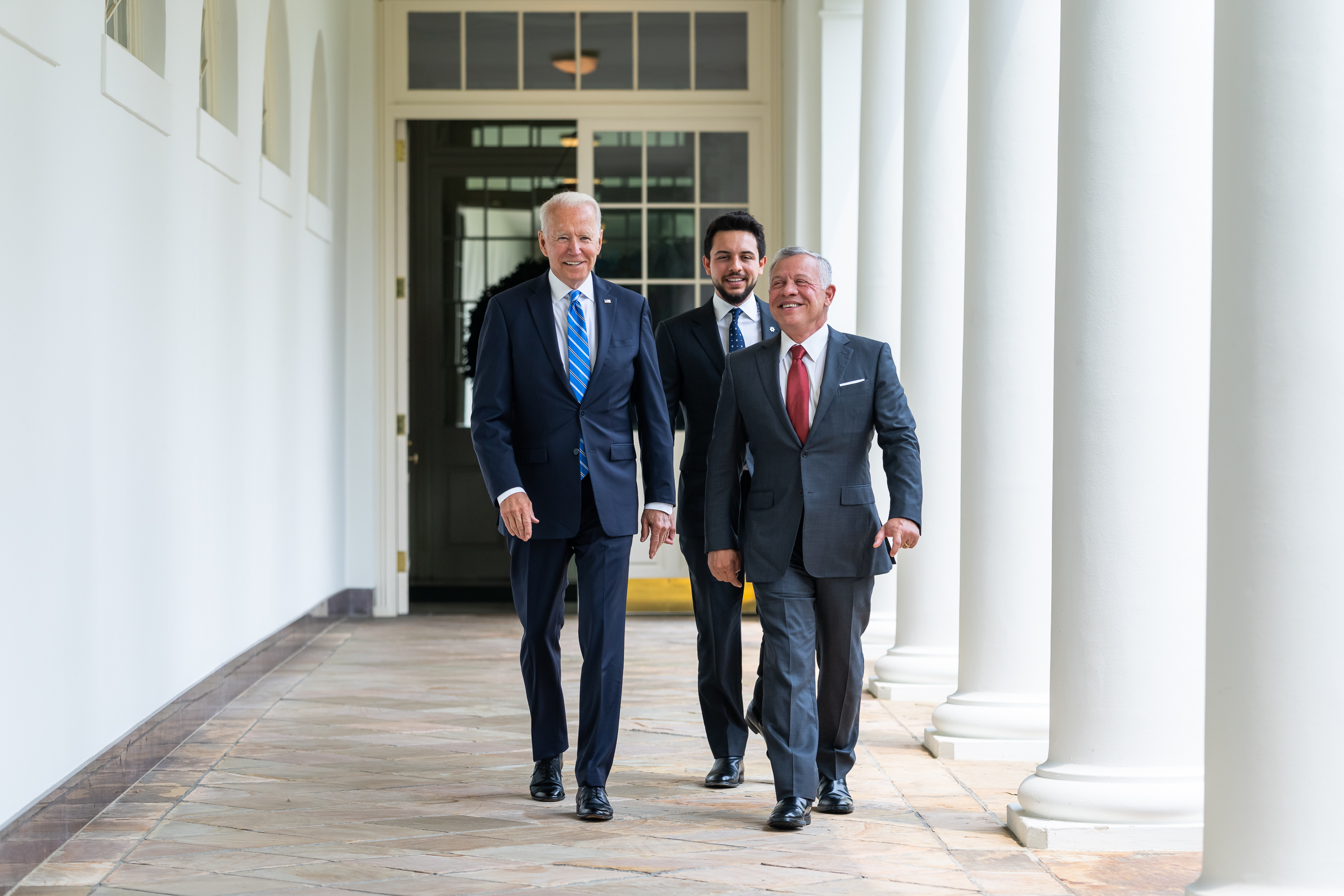 President Joe Biden, King Abdullah II and Crown Prince Al Hussein Bin Abdullah II of Jordan walk along the Colonnade of the White House on Monday, July 19, 2021, to the Oval Office. (Official White House Photo by Adam Schultz via Sipa USA)Please note: Fees charged by the agency are for the agency's services only, and do not, nor are they intended to, convey to the user any ownership of Copyright or License in the material. The agency does not claim any ownership including but not limited to Copyright or License in the attached material. By publishing this material you expressly agree to indemnify and to hold the agency and its directors, shareholders and employees harmless from any loss, claims, damages, demands, expenses (including legal fees), or any causes of action or allegation against the agency arising out of or connected in any way with publication of the material.No Use Germany.