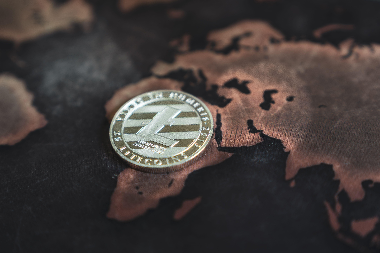 Litecoin token laid over Africa on world map