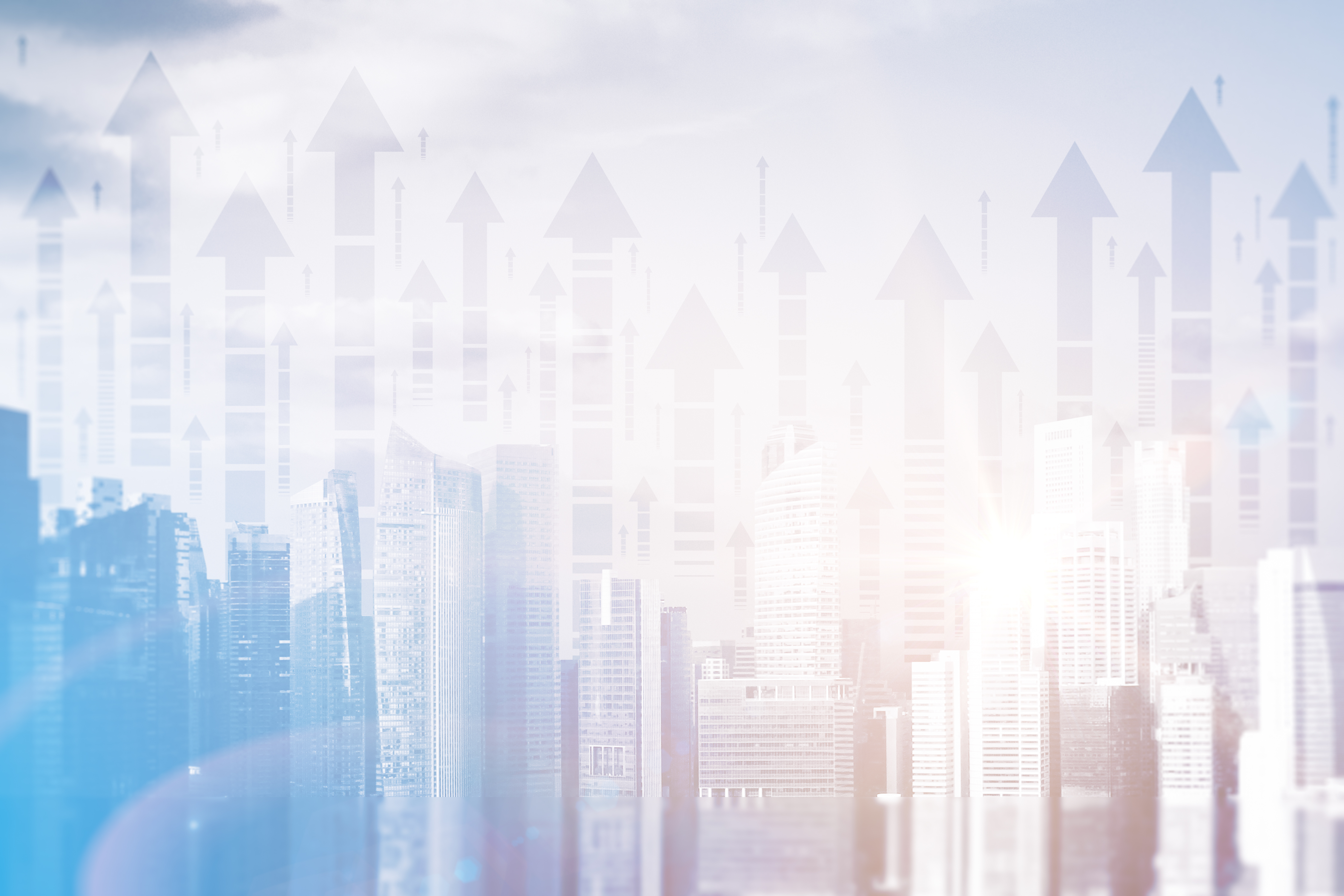 Abstract city with upward arrows and daylight