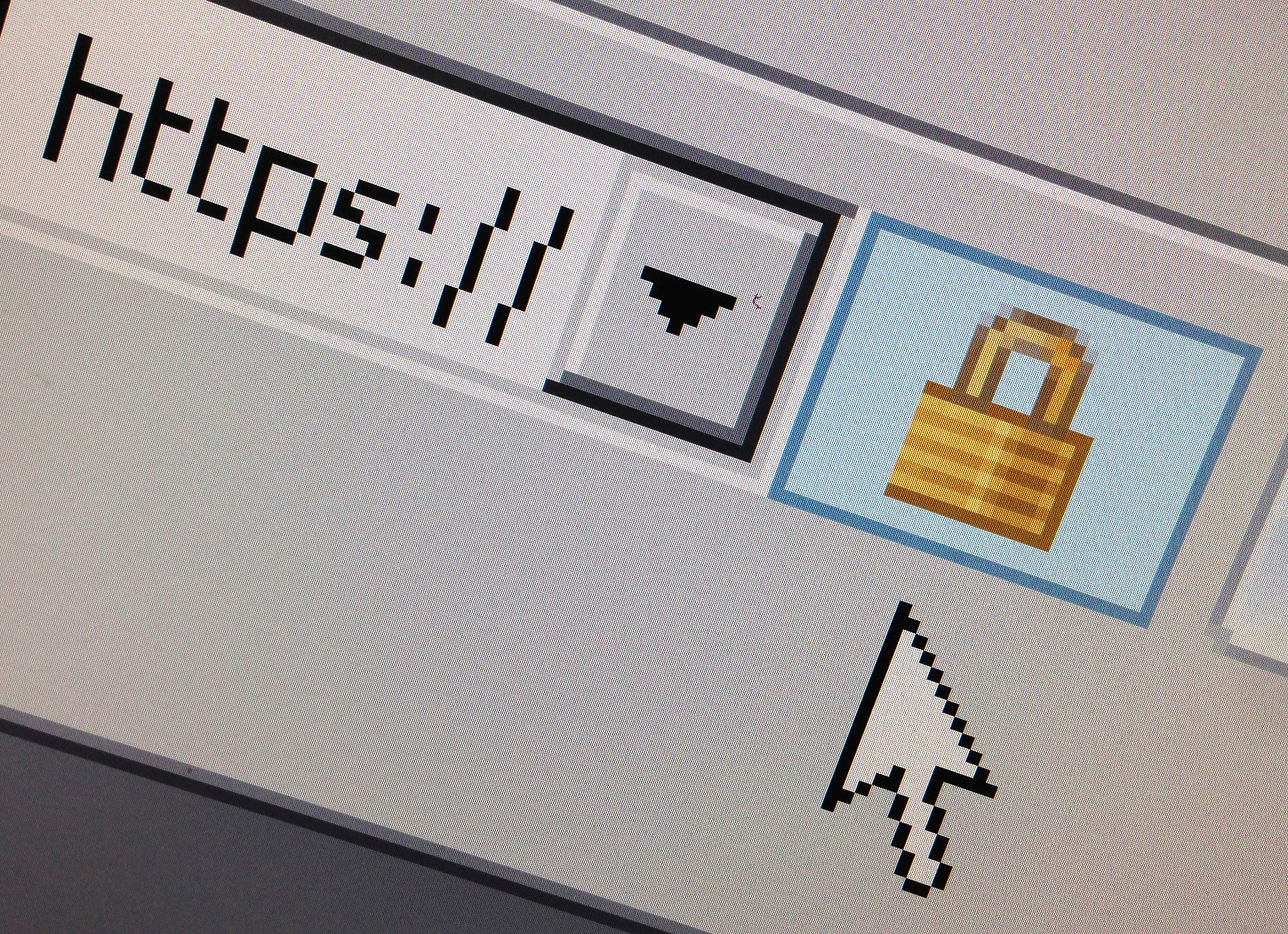 A computer mouse hovers over a lock icon signifying an encrypted internet connection on a web browser.
