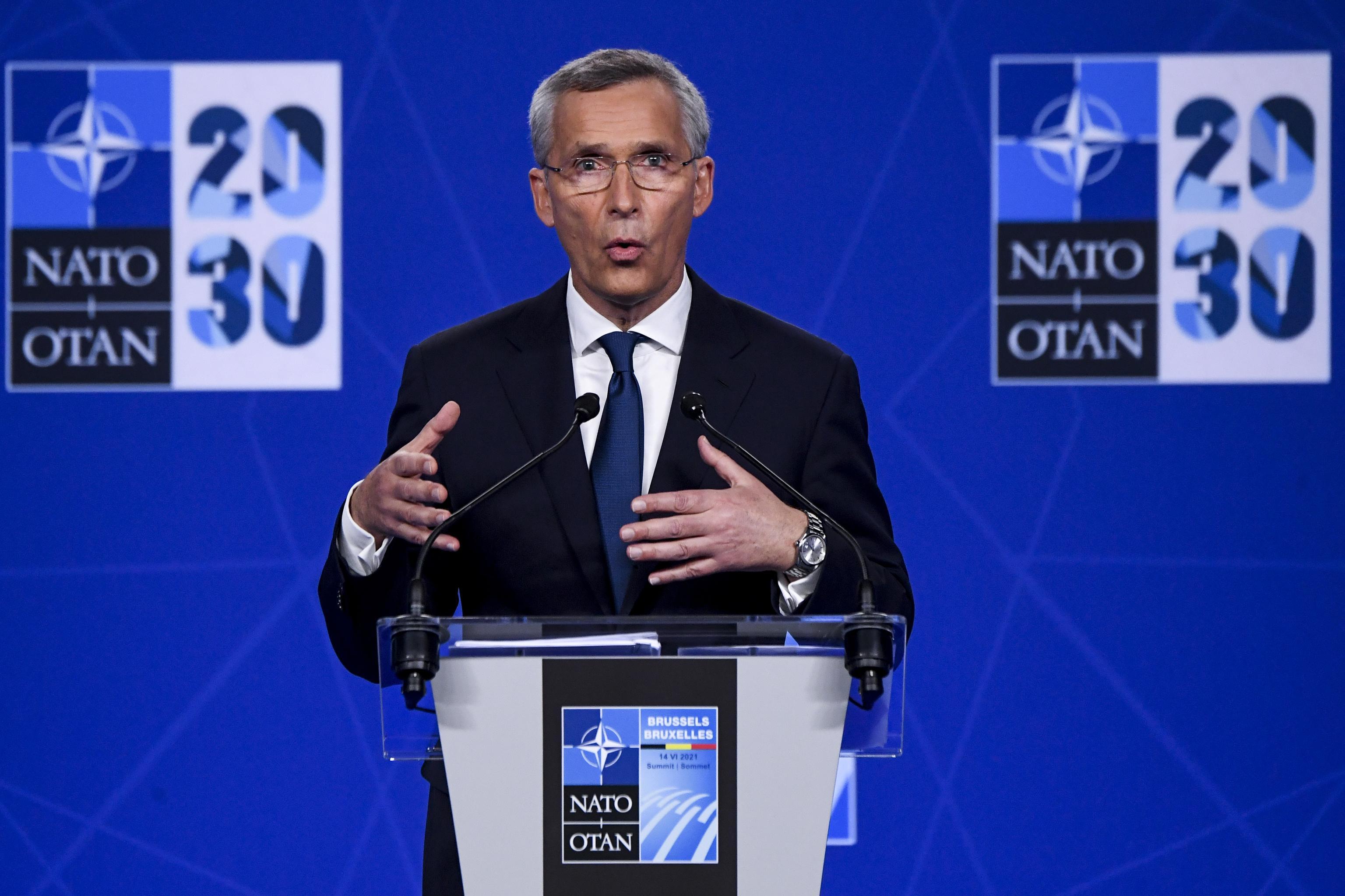 NATO Secretary General Jens Stoltenberg speaks during a presser held as part of the North Atlantic Treaty Organization (NATO) Summit.