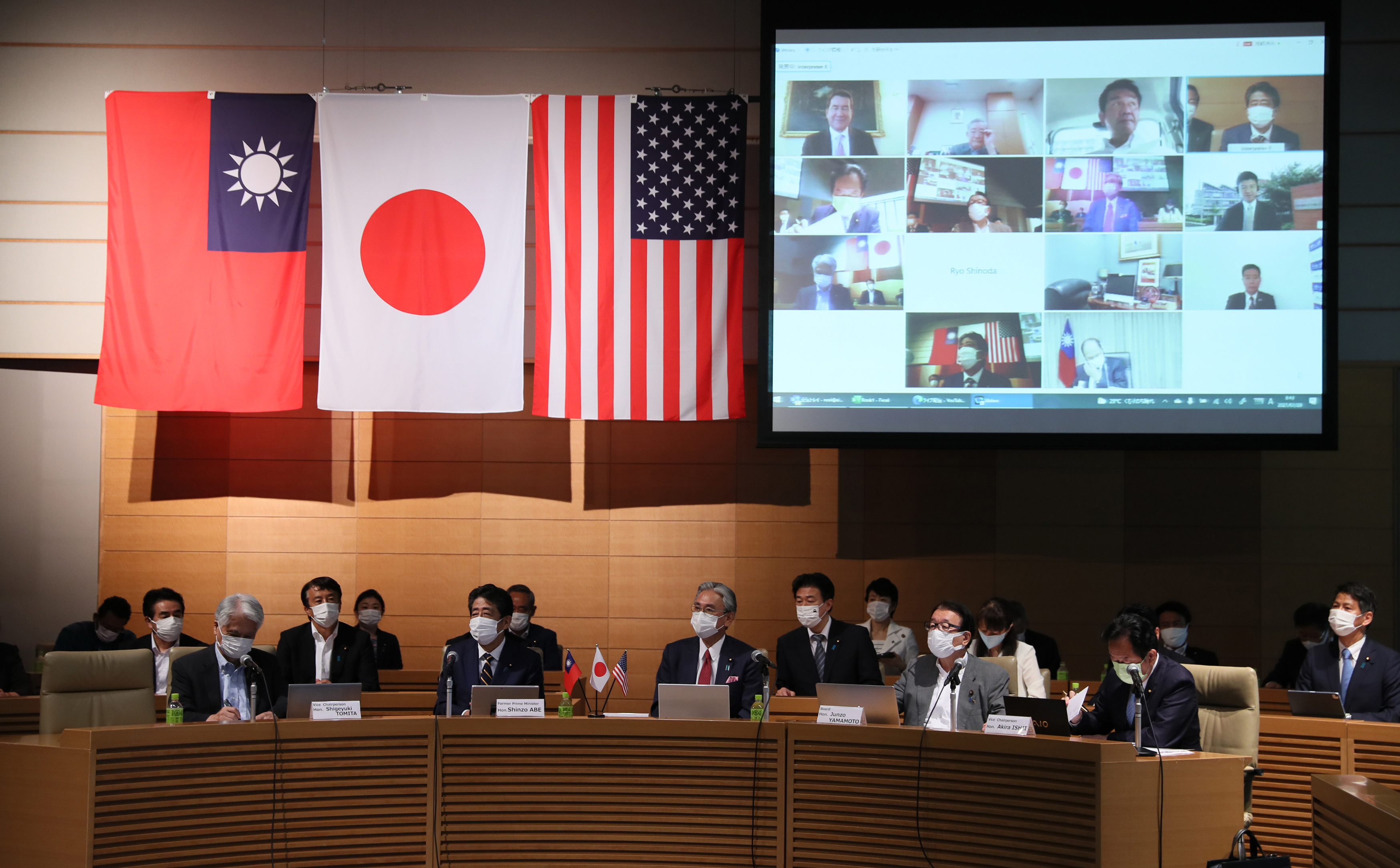 The first meeting of Japan-Taiwan-U.S. Strategic Dialogue is held online at the National Diet Building in Tokyo on July 29, 2021.  ( The Yomiuri Shimbun )