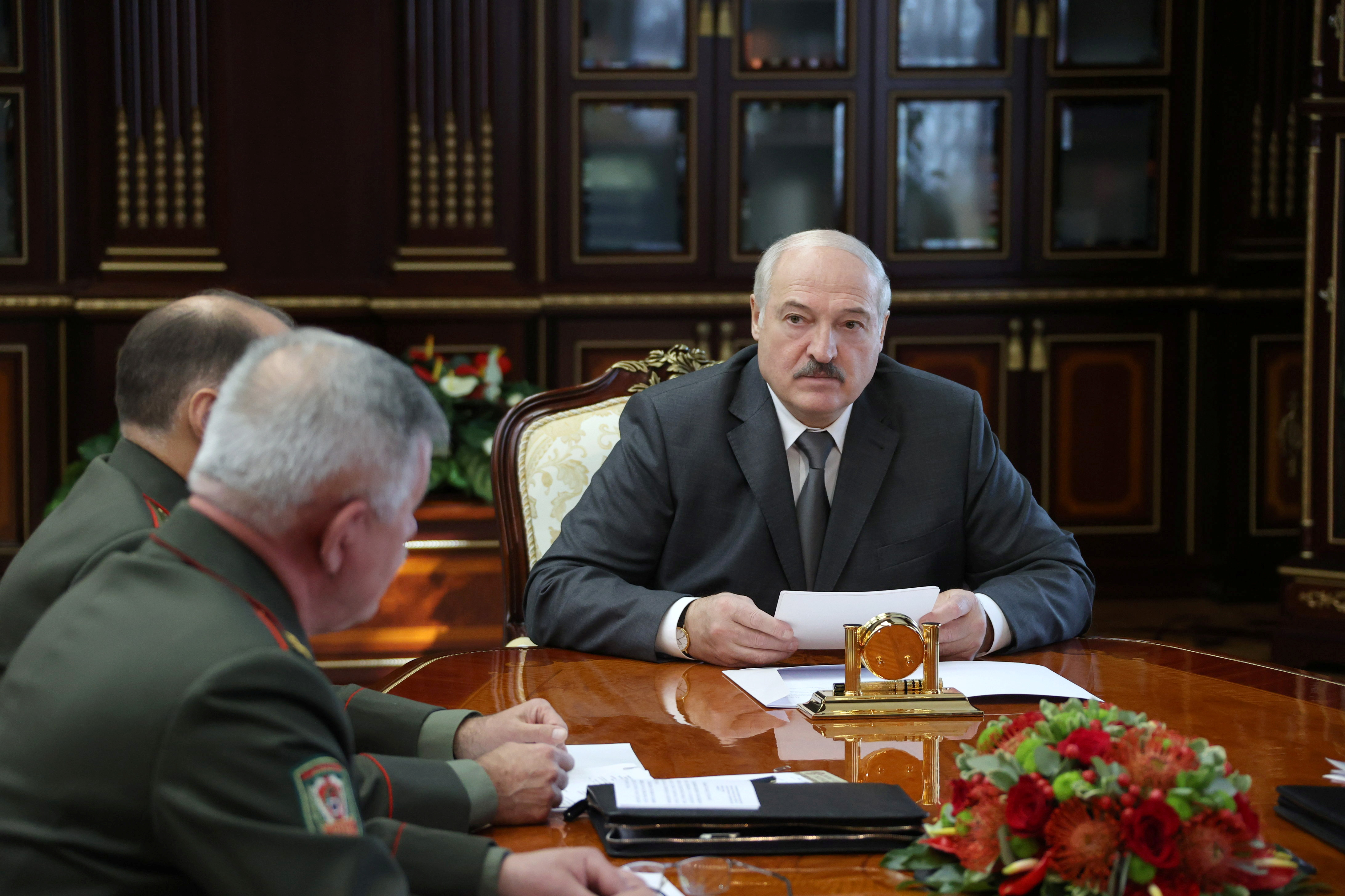 Belarusian President Alexander Lukashenko meets state security officials in Minsk, Belarus September 27, 2021. Maxim Guchek/BelTA/Handout via REUTERS